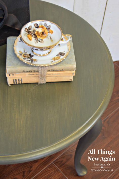 Green Side Table | Green Accent Table | Queen Ann Table | Olive Green Table | Green and Gold Trim End Table | Small Round Green Table by AllThingsNewAgainVA
