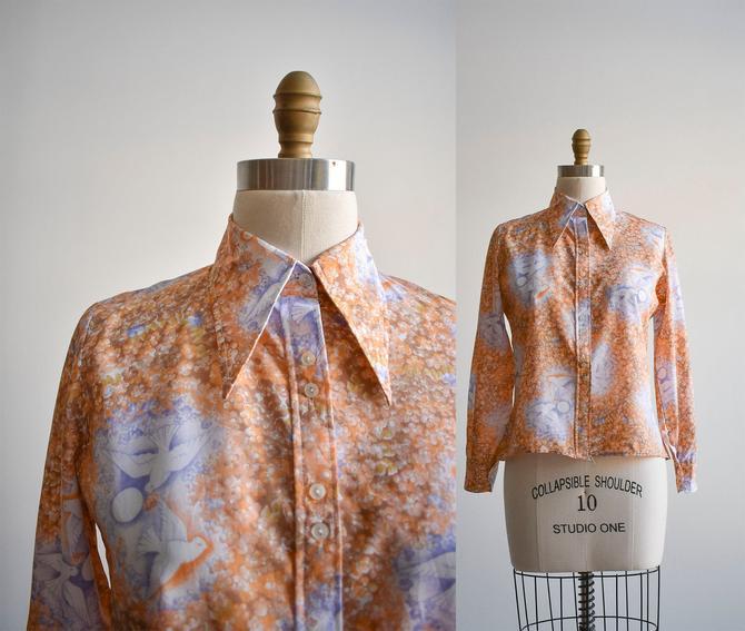 1970s Floral & Dove Disco Blouse by milkandice