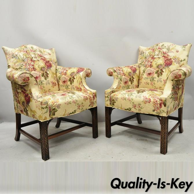 Southwood Chinese Chippendale Carved Fretwork Legs Lounge Arm Chairs - a Pair