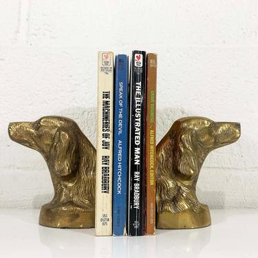Vintage Brass Dog Bookends Mid Century Pointer Setter Cocker Spaniel Animal Decor Metal Mid-Century Hollywood Regency Figurine Home Office by CheckEngineVintage