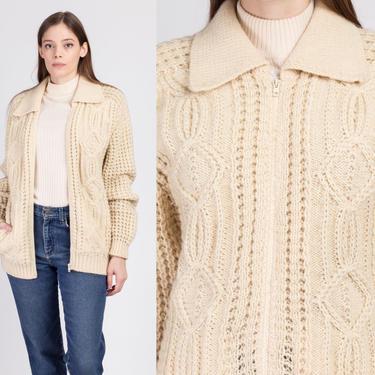 70s Irish Aran Cable Knit Fisherman Cardigan - Medium | Vintage Gaeltarra Hand Knit Wool Zip Up Sweater by FlyingAppleVintage