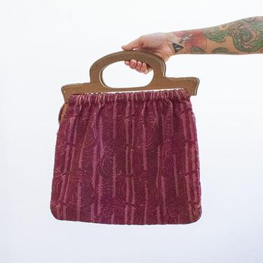 Vintage 1940s Knitting Bag / Vintage Tapestry Bag / Vintage Hand Bag / Vintage Embroidered Bag / Wood Handle Bag / 1940s Sewing Bag by milkandice