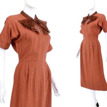 1950s Terra Cotta Wiggle Dress with Large Brown Bow - 1950s Wiggle Dress - Vintage Orange Wiggle Dress - 1950s Orange Dress | Size Small by VeraciousVintageCo