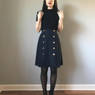 Vintage Navy Pleat Skirt Gold Buttons by SpeakVintageDC