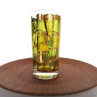 Single Georges Briard Europa Replacement Glass in Yellow and Green, Vintage 22kt Gold Replacement Highball Tumbler by HerVintageCrush