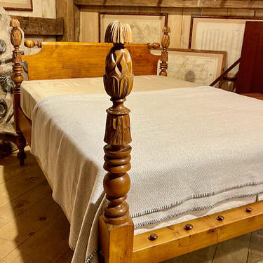 Pineapple & Carved Bell Bed in Maple. Original Posts Circa 1830, Resized to Queen