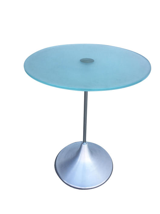 Modern Round Glass Side Table w/ Spun Aluminum Cone Base, Available-6 by HarveysonBeverly