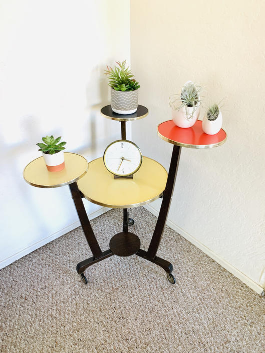 Formica Corner Table, Tiered Indoor Planter, Mid Century Plant Table, Vintage Etagere, Indoor Plant Stand, 50s End Table, Display Table by dadacat