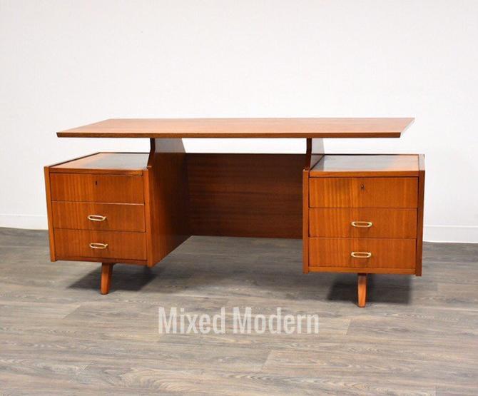 Mid Century Mahogany Executive Desk by mixedmodern1