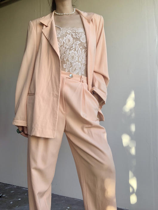 80s Alan Austin Peach Oversized Suit by VintageRosemond