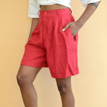 Vintage Linen Cranberry Red High Rise Shorts by MAWSUPPLY