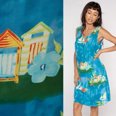 Summer Sailboat Dress 90s Mini Dress Floral Sundress 1990s Shift Boat Nautical Sun Dress Vintage Sleeveless Blue Watercolor Novelty Medium by ShopExile
