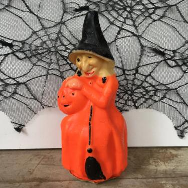 Large Vintage Gurley Witch, Hag Halloween Candle, Orange Witch With JOL Candle, Vintage Halloween, See Condtiion Please by luckduck