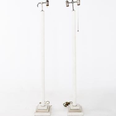 Karl Springer Style Mid Century Faux Ostrich Floor Lamps - Pair - mcm by ModernHill