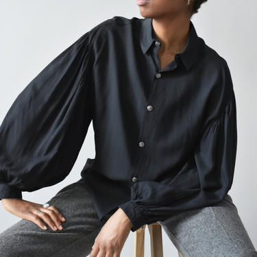 vintage balloon sleeve blouse, 90s black button down shirt, size L by ImprovGoods
