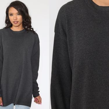 90s Thermal Shirt Charcoal Grey Long Sleeve Shirt WAFFLE KNIT Henley T Shirt Grunge Tshirt Retro Tee Vintage Plain Simple Extra Large xl xxl by ShopExile