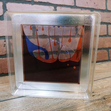 "Artek 8"" Color Window Plastic Liquid Motion Desk Toy Op Art Orange Blue Drip 1970s Space Age by RedsRustyRelics"