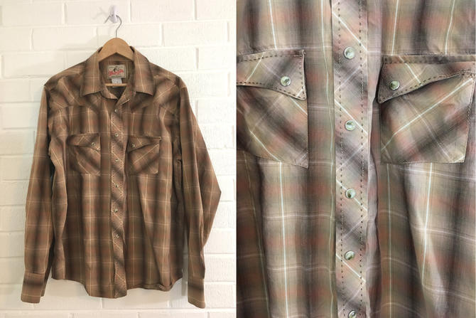 Vintage Brown Plaid Button Up Shirt Wrangler American Cowboys Top 70s Button Down 1970s Long Sleeve Cowboy Top Men's XL Women's Plus Volup by CheckEngineVintage