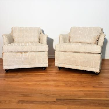 Mid Century Erwin Lambeth Pair of Barrel Back Tufted Lounge Chairs by ProRefineFurnishings