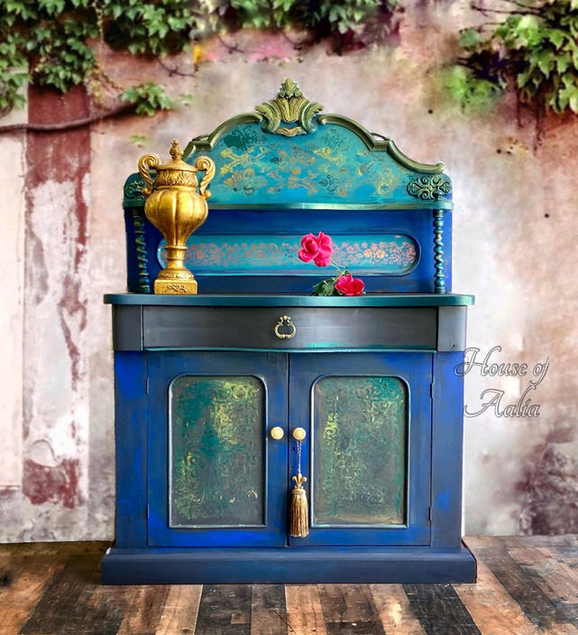 Vintage Teal Gold Bohemian Jacobean Sideboard. Antique Buffet Credenza. Anthropologie Inspired. by HouseofAalia
