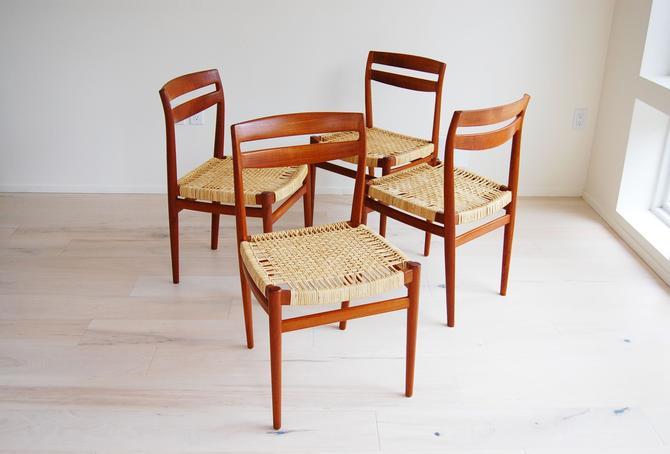 Scandinavian Modern Teak Dining Chairs with Cane Seats Torbjorn Afdal for Nesjestranda Mobelfabrik in Norway - Set of 4 by MidCentury55