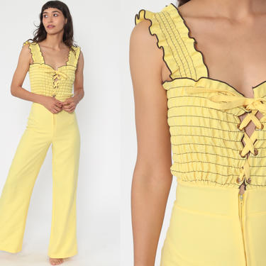 70s Jumpsuit Yellow Corset Bell Bottom Pants Wide Leg Boho Jumpsuit 1970s Bohemian One Piece Sleeveless Vintage Pantsuit Extra Small xs by ShopExile
