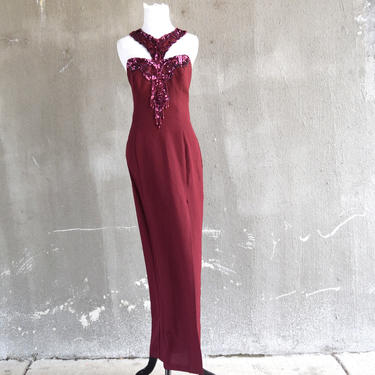 90s Formal Gown | Red Dress | 90s Party Dress | Beaded Dress | Fitted Dress | Small Dress S | Size 4 Dress | Dramatic Dress | Maxi Dress by aphroditesvintage