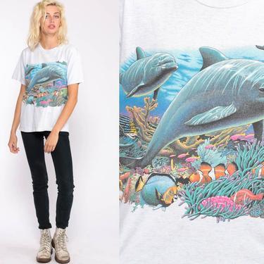 Dolphin Shirt Under The Sea Shirt Graphic Tshirt Tropical Fish Retro T Shirt 90s Print Top Animal Vintage Beach Retro Tee Small Medium by ShopExile