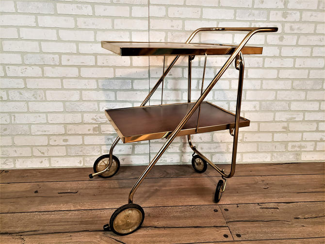 Rid-Jid Serve n Style Fold and Roll Table Bar Cart Knock Down KD Cart Folding Wood and Brass by RedsRustyRelics