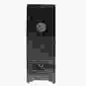 Chinese Oriental Distressed Black Lacquer Moonface Slim Storage Cabinet cs5149S