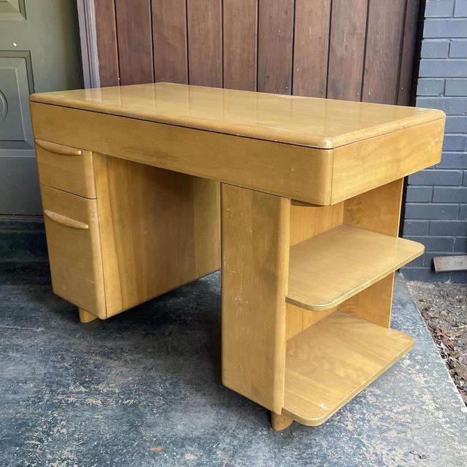 1950s Heywood Wakefield Desk Blonde Art Deco style Wooden Tanker by BrainWashington