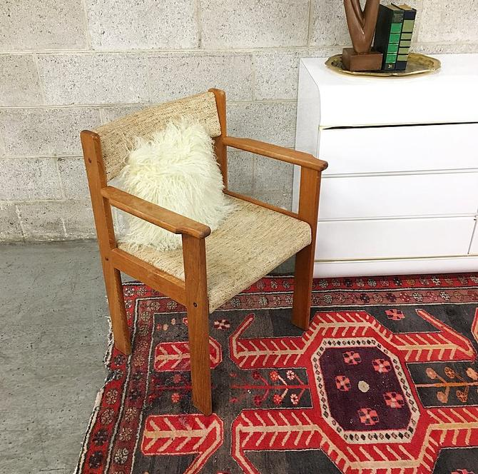 LOCAL PICKUP ONLY Vintage Wood Chair Retro 1990's Brown Square Frame with Tan Tweed Fabric on Seat and Back for Office or Living Room by RetrospectVintage215