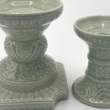 Vintage Pair of Celadon Pillar  Candle Holders Raised Floral Design- Chopsticks by Andrea Sadek by JoAnntiques