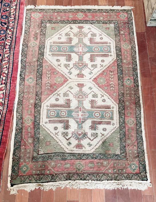 Sage and Raspberry Wool Accent Rug by StrangelovelyVintage