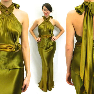 1930s Green Silk Evening Dress | 30s Olive Green Silk Backless Halter Gown | Jean Harlow | Old Hollywood | Small by GlennasVintageShop