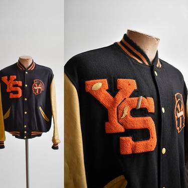 Vintage Black & Orange Varsity Letterman Jacket by milkandice