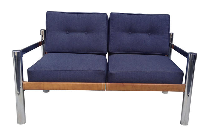 Mid-Century Modern Chrome Base Loveseat