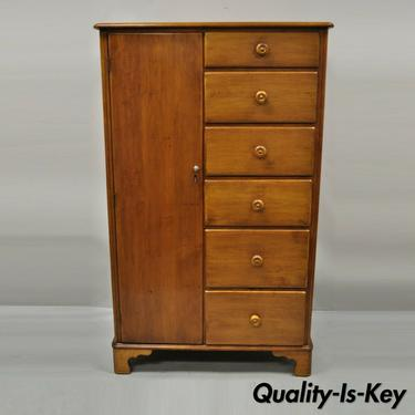 Antique Maple Wood Colonial Wardrobe Tall Chest Dresser 6 Drawers Cedar Cabinet