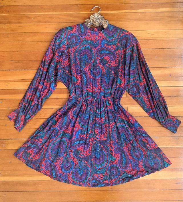 Vintage Red Paisley Dress by BTvintageclothes