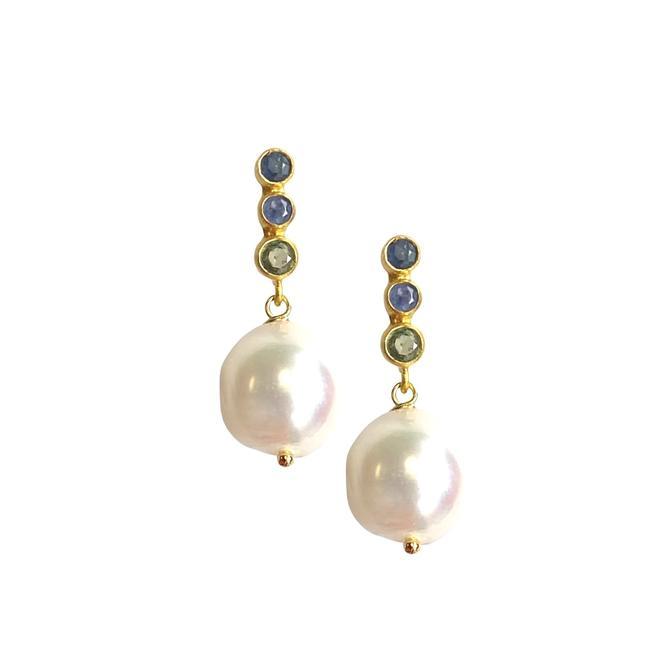 Sapphire Pearl Drop Earring