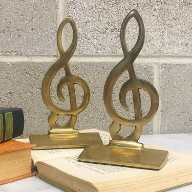Vintage Bookends Retro 1970s Mid Century Modern + Treble Clef + Gold + Brass Metal + Music Note + Book Storage + Table Top or Shelf + Decor by RetrospectVintage215