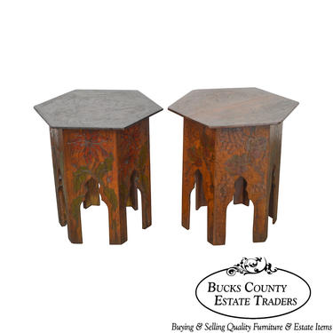 Antique Pair of Flemish Arts & Crafts Pyrographic Carved Taboret Side Tables by BucksEstateTraders