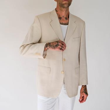 Vintage 90s Yves Saint Laurent Light Sand Tan Linen Blend Three Button Blazer | Made in France | YSL Logo Lining | 1990s YSL Designer Jacket by TheVault1969