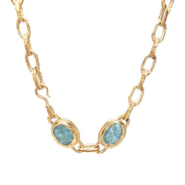 One-of-a-kind Raw Surface Aquamarine Necklace