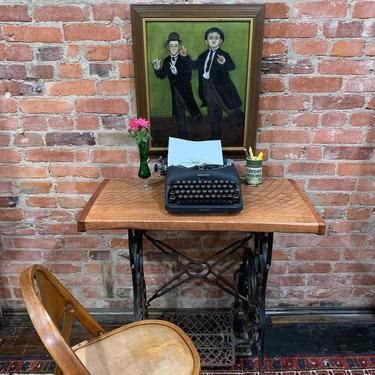 Artisan desk / entryway console (raw hewn wood on antique sewing machine base)