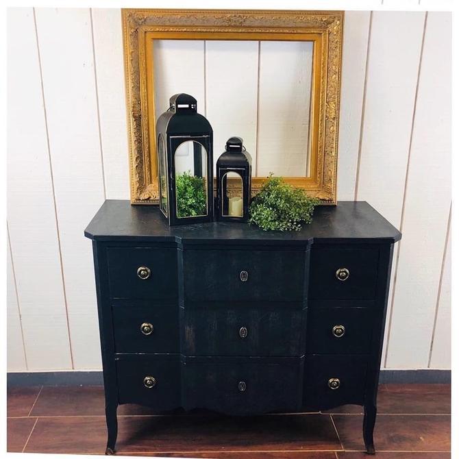 Elegant Black Dresser, striped on top/drawer fronts by RustandRefind