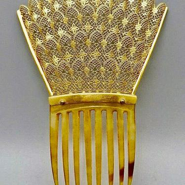 Antique 22K Gold Plate Lace Hair Comb, Victorian Lace Filigree Comb, Bridal Comb, Gold Lace Hair Decoration, Hair Jewelry, by CombAgain
