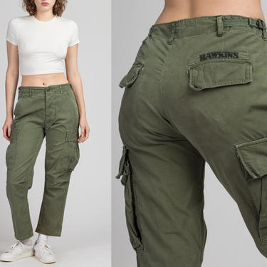"""Vintage 60s 70s OG-107 High Waisted Army Cargo Pants - 25""""-31"""", Men's Small 