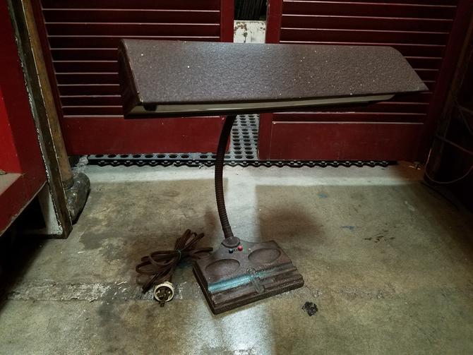 Vintage Steel Banker Desk Lamp H15.5 x W15.25 x D9.5
