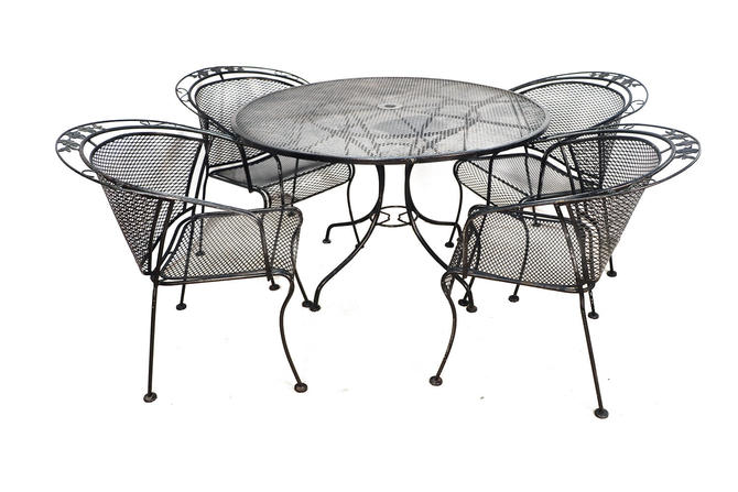 Mid Century Wrought Iron Patio Set in the Style of Russell Woodard by Marykaysfurniture